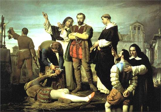 Francisco Maldonado antes de ser ejecutado en Villalar. (www.hotelhelmantico.com)