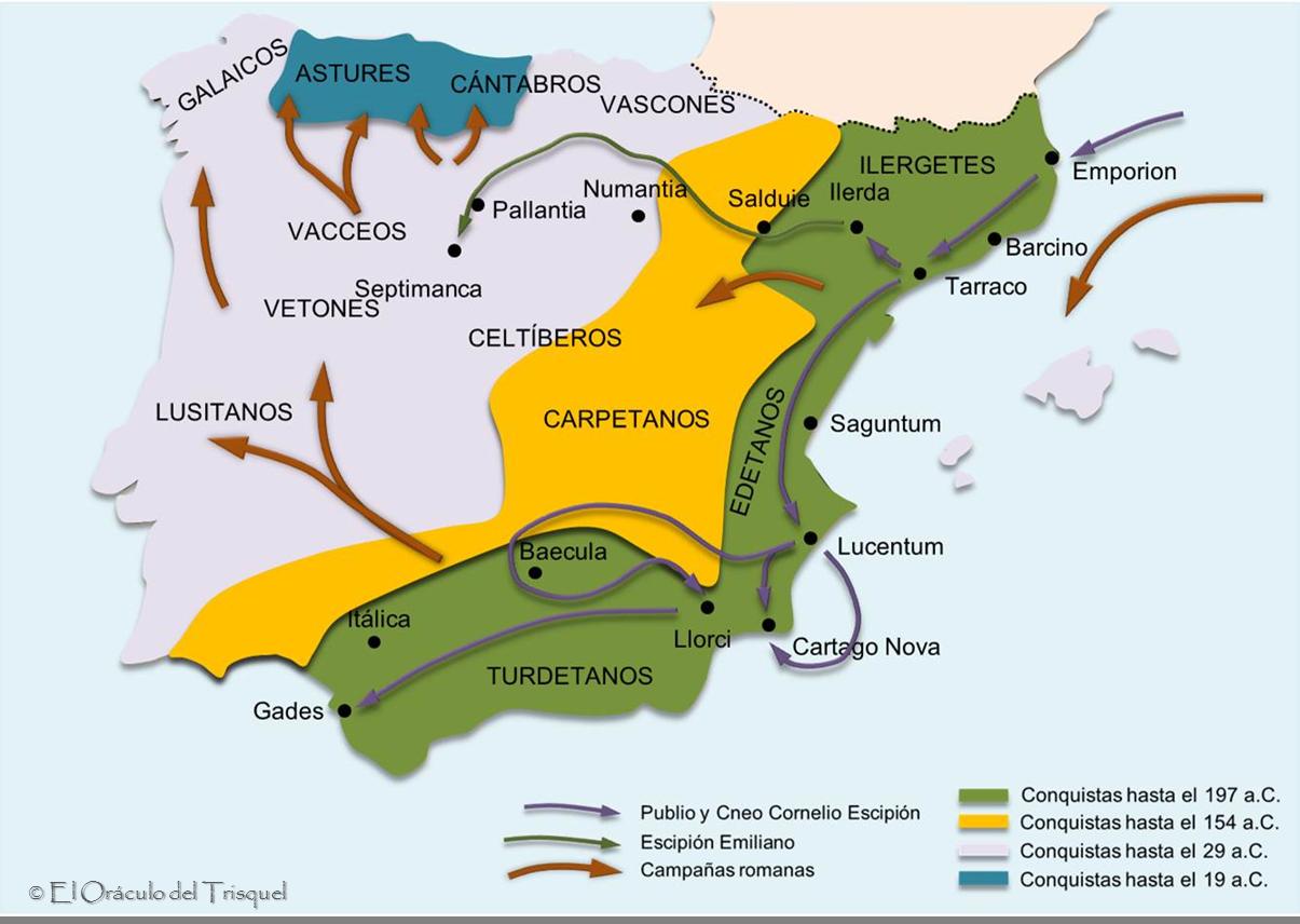 la conquista. Mapa de las campañas romanas en Hispania